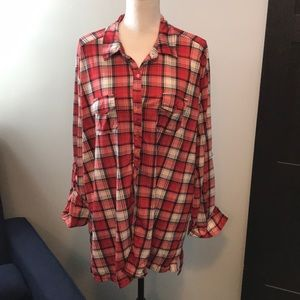 French Laundry Red Black Flannel top 3X